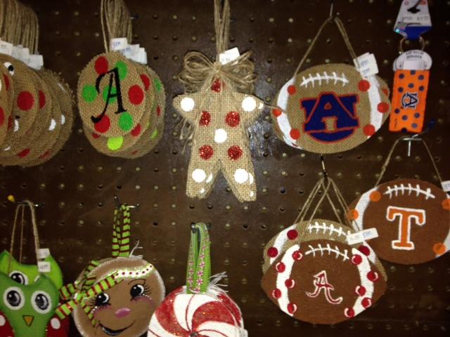 burlap ornaments