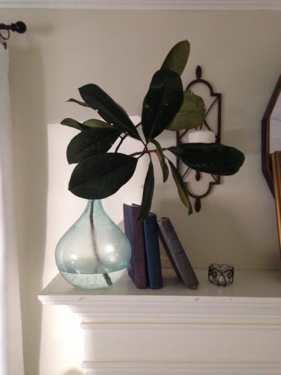 Magnolias on mantel