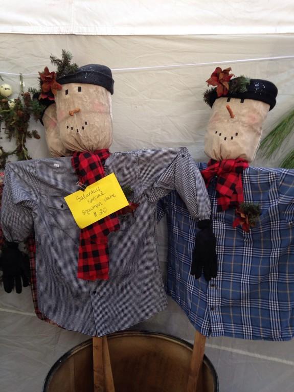 Snowmen scarecrows