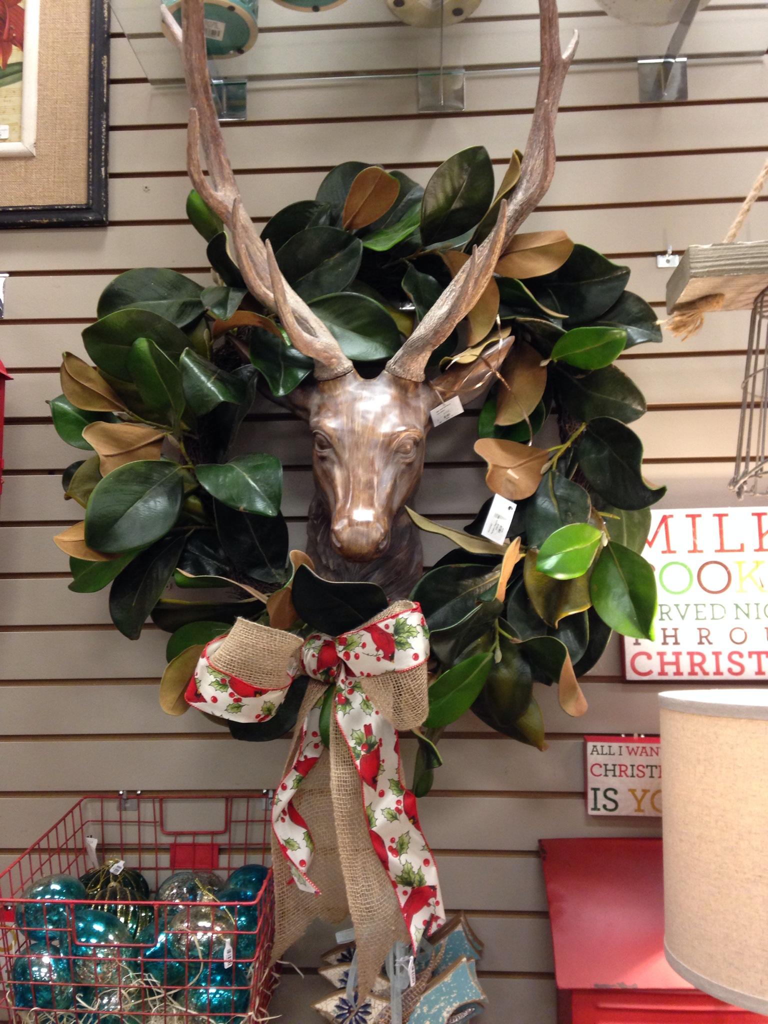 Casabella deer head magnolia wreath