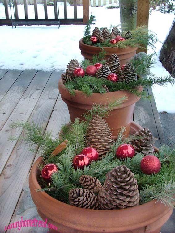 porch- potted pinecones