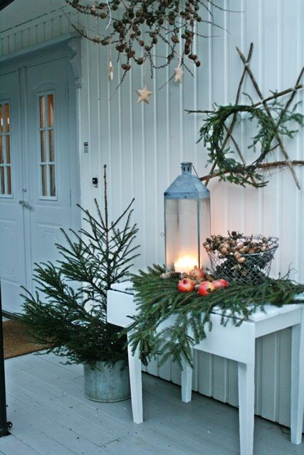 porch- rustic twig and greenery