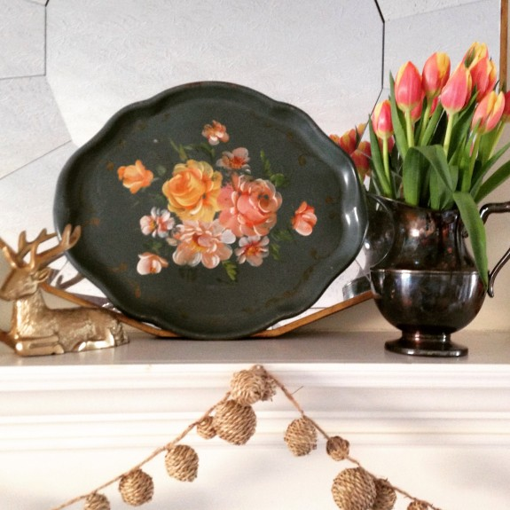 Spring mantel tulips and tray