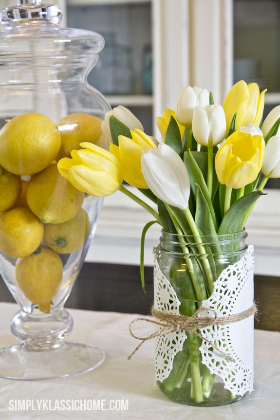 spring - mason jar centerpiece