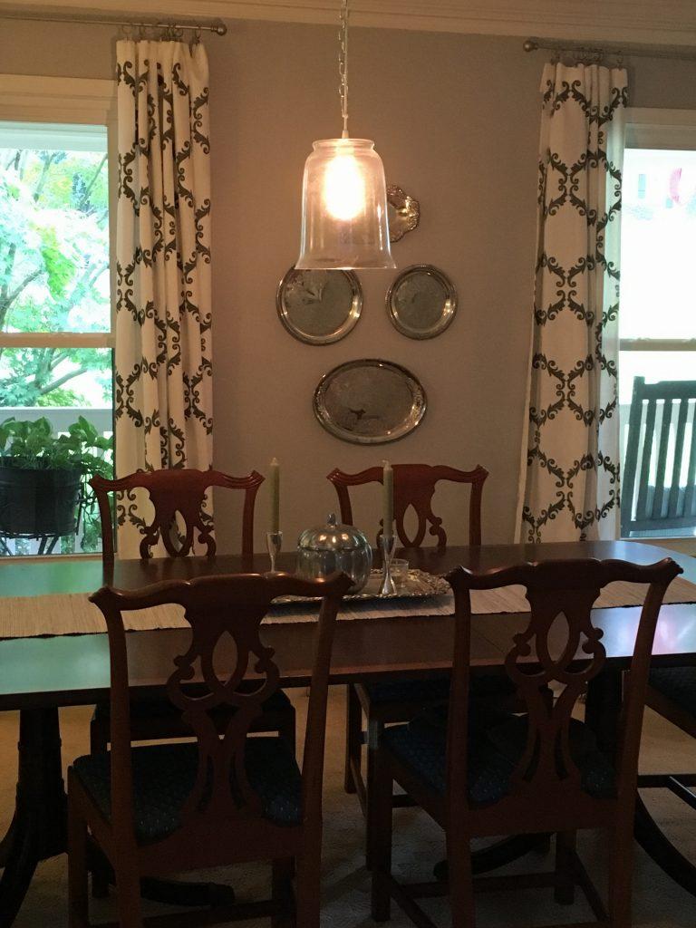 dining room silver platter wall