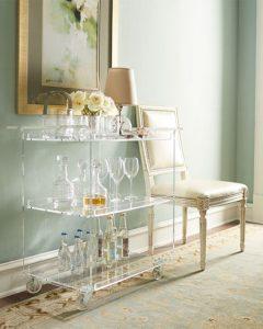 acrylic bar cart via Horchow