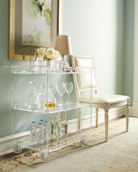 acrylic bar cart via Horchow