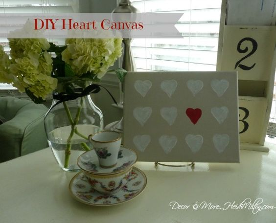 Valentine's Day DIY heart canvas